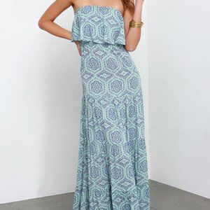 Lulu's Boho Chic Strapless Blue Print Maxi Dress